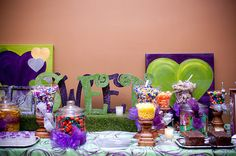 """Sweet"" purple and green standing letters for candy bar"