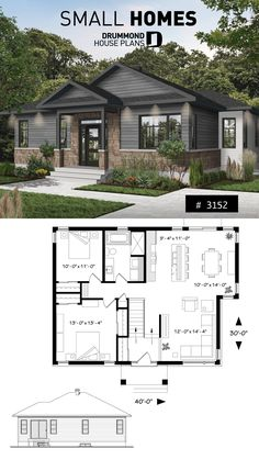 small modern rustic home 2 bedroom Rustic Modern home plan, split e. - small modern rustic home 2 bedroom Rustic Modern home plan, split entry, large kitchen - Small Modern Home, Modern Rustic Homes, Modern Farmhouse Exterior, Farmhouse Plans, Sims House Plans, Dream House Plans, Dream Houses, Luxury Houses, One Level House Plans