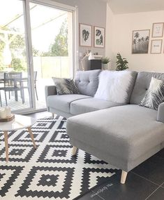 Home Office Decor, Choosing Carpet, Living Room Decor, Living Room Carpet, Home Decor, Home Deco, Corner Sofa, Couch, Black And White Carpet