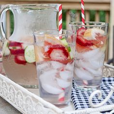 A refreshing summer drink - infused water (agua fresca) - with cucumbers, strawberries, and pink grapefruit