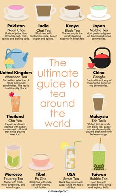 The names and types of tea from around the globe. General, but good for the names of tea in different countries Tea Facts, Fruit Tea, Tea Blends, My Tea, Sugar And Spice, High Tea, Drinking Tea, Afternoon Tea, Chefs