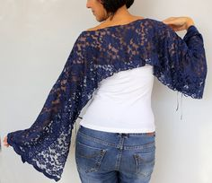 Navy blue bolero shrug, lace tunic, dress cover-up, top wear. Chic shoulder wrap is made with dark navy blue lacy net fabric. Boho chic look with its