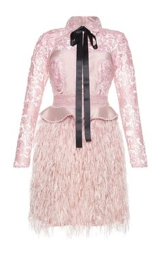 Silk Yarn Feather Embellished Mini Dress by COSTARELLOS for Preorder on Moda Operandi
