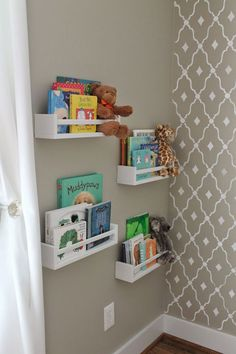 the wall spice rack hack for storing kids books. Love this idea for toddler room. - Organised Pretty HomeOn the wall spice rack hack for storing kids books. Love this idea for toddler room. - Organised Pretty Home Ikea Nursery, Nursery Storage, Ikea Storage, Bedroom Storage, Storage Ideas, Wall Storage, Shelving Ideas, Girl Nursery, Bedroom Shelves