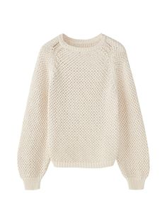 Textured sweater with shimmery details. Features a straight fit, a round neckline, long puff sleeves and ribbed trims.