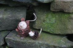 Handmade Mice Family from a natural pinecone with by WOODbyNTP