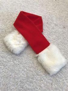 Dog Scarf Size XXS Pet Clothes Red Santa Theme White Soft Fuzz Ends    eBay