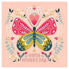 Happy Mothers day to all you wonderful mums out there. I hope you have a great day xx Portfolio Kindergarten, Scandinavian Folk Art, Mothers Day Cards, Happy Mothers Day, Butterfly Art, Butterflies, Posca, Vintage Easter, Simple Art