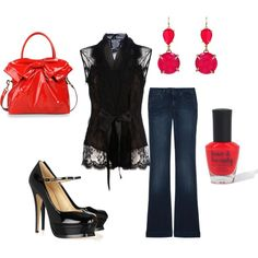 """""""Date Night"""" Love the black lace top!"""
