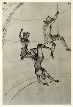 martacarallas:1939 Photogravure Henri Toulouse-Lautrec Flying Trapeze Artists…