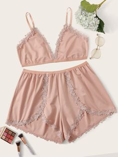 Good Plus Size Intimates $14.00 Plus Size Intimates Modern Plus Lace Trim Cami Top With Shorts $14.00 Plus Size Pajamas, Plus Size Intimates, Satin Cami, Plus Size Womens Clothing, Trendy Clothing, Plus Size Shorts, Cami Tops, Lace Sleeves, Lingerie Set