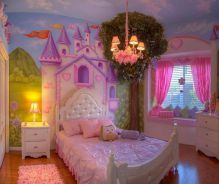 Sample photo of sky and tree I'll do in Tyler's room. Maybe a knight's castle and headboard worked into the door like this princess room sort of did. Getting many ideas from this one Posh Tots room redo! Princess Bedrooms, Disney Bedrooms, Princess Room, Princess Castle, Princess Theme Bedroom, Princess Disney, Bedroom Color Schemes, Bedroom Themes, Bedroom Colors