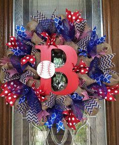 Atlanta Braves Burlap Baseball Wreath by TheWhimsyWreath on Etsy