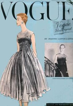 50s Vogue Paris Original 1338 Lanvin Castillo Dress 1956 Very Full Draped & Tucked Cocktail Dress with Petticoat Sz12 B30 uncut
