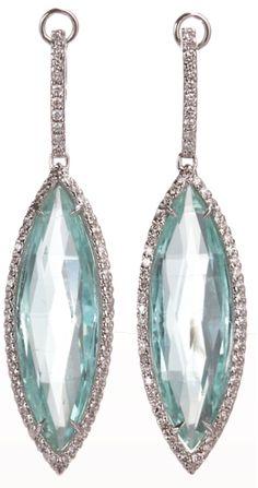 Sharon Khazzam mint tourmaline & diamond earrings. Via Diamonds in the Library.
