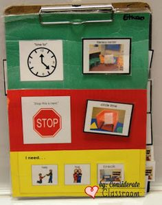 """Considerate Classroom: Early Childhood Special Education Edition: Individualized First Then Visual Schedules definitely adding the """"break"""" option to the boys' F/T Classroom Behavior, Autism Classroom, Special Education Classroom, Classroom Setup, Behavior Board, Behavior Charts, Classroom Displays, Autism Resources, Special Education"""