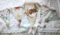 Easter Banner made with vintage wallpaper and bunny