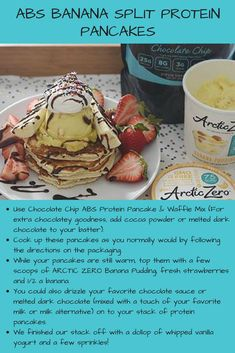Love Banana Splits?? Try our ABS #BananaSplit #Protein #Pancakes! Yummy Treats, Yummy Food, Protein Waffles, Waffle Mix, Banana Split, Waffle Recipes, Abs, Chocolate, Cooking