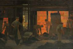 Charging of the Horizontal Retort at Imperial Smelting Corporation Zinc Works, Avonmouth by British School.  Date painted: c.1950