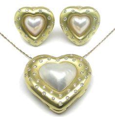 Mabe Pearl & 1.60ct Diamond 18k Yellow Gold Pendant & Earrings Jewelry Set