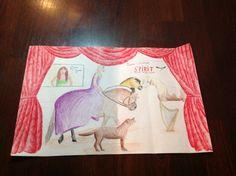 Eerste opdracht. We moesten een zelfportret maken met zeven dingen die je leuk vond aan KC ( kunst & cultuur ). Ik heb de volgende dingen gekozen: Muziek: Ariana Grande en harp, Film: Spirit Stallion of the Cimarron, Mode: de jurk, Toneel: het toneel zelf, Dan had ik nog twee dingen die erg belangrijk zijn in mijn leven: paarden en honden.