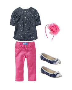 Girls Style - Polka Dots and Pink #tinystyle #girls #fashion #clothes