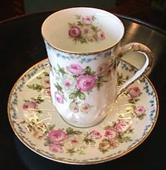 Limoges Cup  Saucer - Florals and Gold