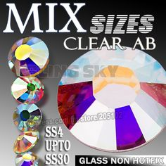 Clear AB Mix Sizes SS3 SS10 SS4 SS30 Nail Rhinestone Non HotFix crystal  strass glitters for DIY nails art design decor manicure-in Rhinestones from  Home ... 3861d32be29f