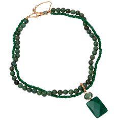 Colar Semi joia em Quartzo Verde, Cristal Verde e Detalhes em Banho de Ouro 18k.