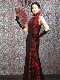 2014 Spring Popular fashion,Custom Made Chinese Bare Back Prom Dress, Black red Bridal dress