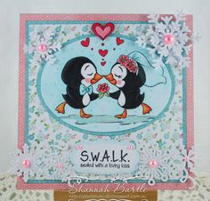 Whimsy Stamps card by Shannah Bartle using 'Kissing Penguins' from Krista Heij-Barber, and 'Snowflake Border Die', 'Layered Snowflake Dies' and 'All You Need Is Love' sentiment set.