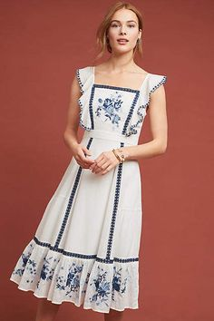 Farm Rio Galatea Embroidered Dress, presented by Anthropologie. An apron-style bodice and bouquet of floral embroidery imbue this dress with a vintage charm. Boho Fashion, Fashion Dresses, Womens Fashion, Fashion Design, Farm Fashion, Fashion 2018, Petite Fashion, 80s Fashion, Korean Fashion