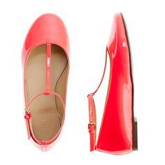 LOVE   J.Crew Girls' patent leather t-strap ballet flats.