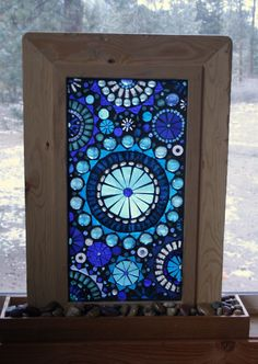 Glass Mosaic Window Panel Abstract Blue by lowlightcreations