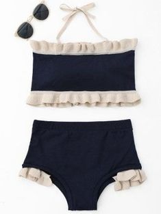 Ruffle Knit Halter Bikini Set - Purplish Blue #style#swimsuit#womensfashion #beautiful#swimwear#woman#beauty