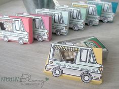 Tic tac boxes made with Stampin Up Tasty Trucks stamp set Sale-a-bratiion 2017 Diy Gifts Using Paper, Fancy Envelopes, Candy Gifts, Birthday Cards, Car Birthday, Cute Crafts, Stamping Up, Kids Cards, Craft Fairs