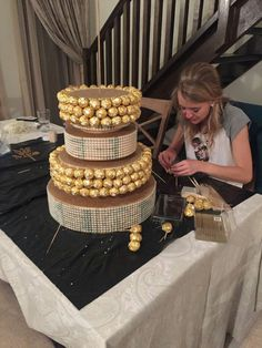 All the Ferrero Rocher chocolates are inserted with a toothpick and slid into the polystyrene.