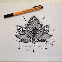 Dessin mandala fleur de lotus