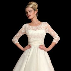 Loulou Dahlia Vintage Style Tea Length Wedding Dress With Sleeves