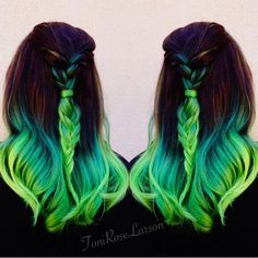 Image result for green hair braid