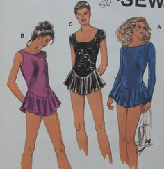 Leotard with Attached Gathered Skirt Sewing Pattern /Kwik Sew 2932/Size XS-S-M-L-XL/Scoop Neck,Sleeveless, Long Sleeve, Circular Skirt Uncut by RedWickerBasket on Etsy