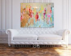 Sold Abstract Art Large Canvas Painting White Gold Navy
