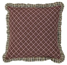 "Add our Jackson Fabric Pillow 16"" Filled to your Jackson quilted bedding collection or purchase for your living room couch. https://www.primitivestarquiltshop.com/search?type=product&q=jackson+fabric+pillow #primitivecountrybedroomsbeddingandaccessories"