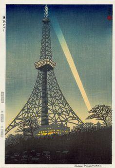 Tokyo Tower, illustration by Shiro Kasamatsu, 1959.
