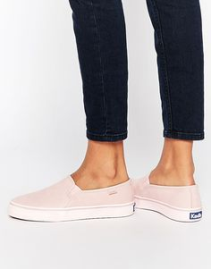 Image 1 of Keds Double Decker Washed Leather Pale Pink Slip On Sneakers