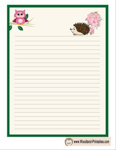 Writing Paper Printable featuring Hedgehog