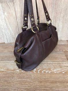 bb7e7fb7359e 90 s Designer Brown Distressed Leather Shoulder Bag