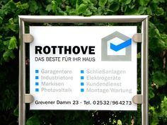 Werbeschild Rotthove, Ostbevern