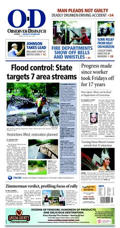 The front page for Friday, July 20, 2013: Flood control: State targets 7 area streams