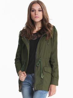 Army Green Hooded Long Sleeve Pockets Outerwear - #Sheinside #anorak